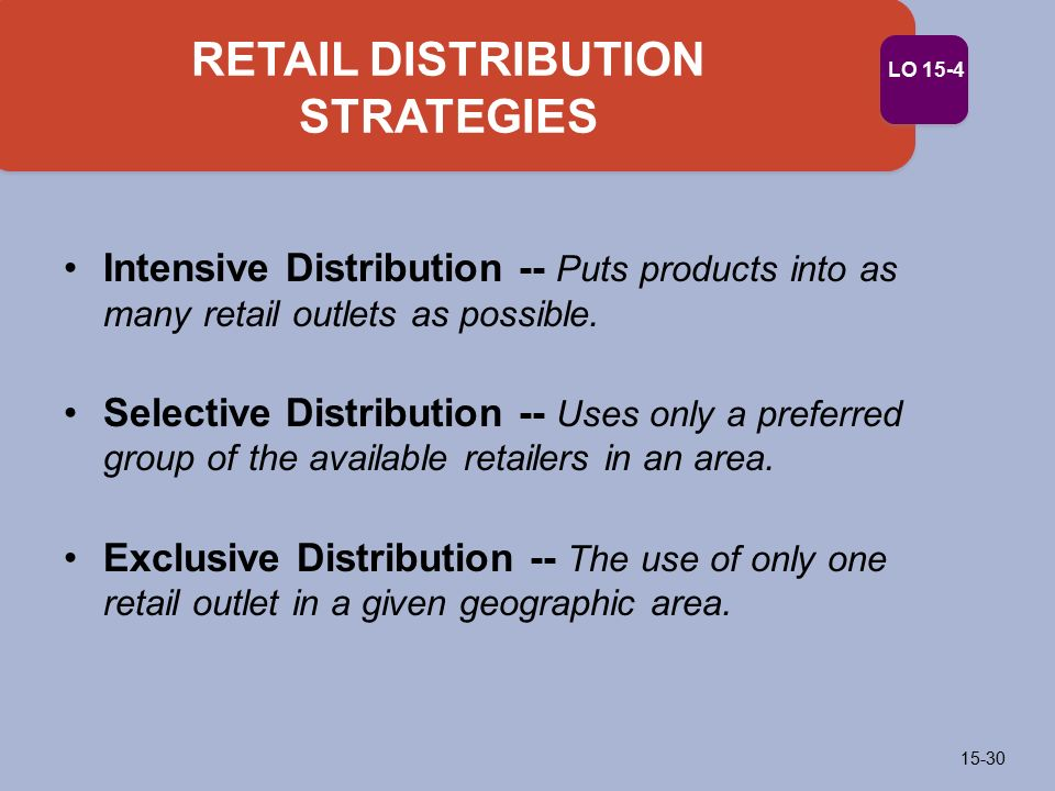 intensive strategies Intensive distribution is a strategy that lets businesses ignores market segmentation and allows them to supply their product to every market available.