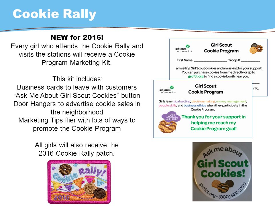 Girl scouts of connecticut troop cookie manager training ppt download every girl who attends the cookie rally and visits the colourmoves Image collections