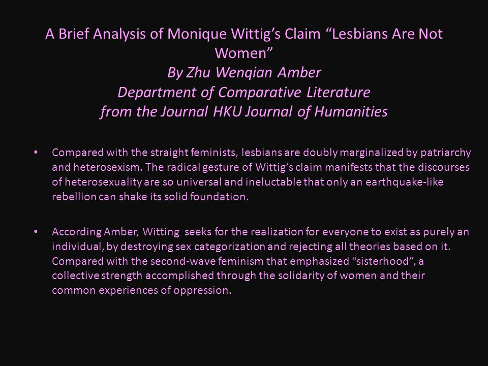 critical analysis of monique wittig Biography monique wittig was born in 1935 in dannemarie in  wittig also developed a critical view of marxism which obstructed  wittig, monique (1997),.