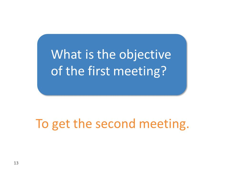 What is the objective of the first meeting