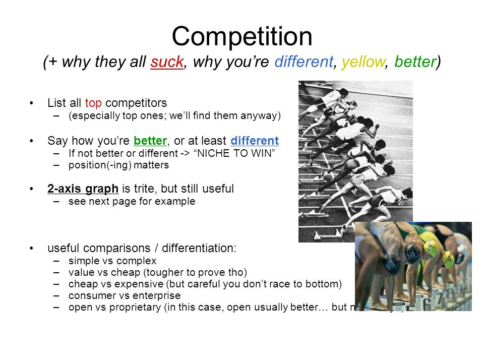 Competition (+ why they all suck, why you're different, yellow, better)