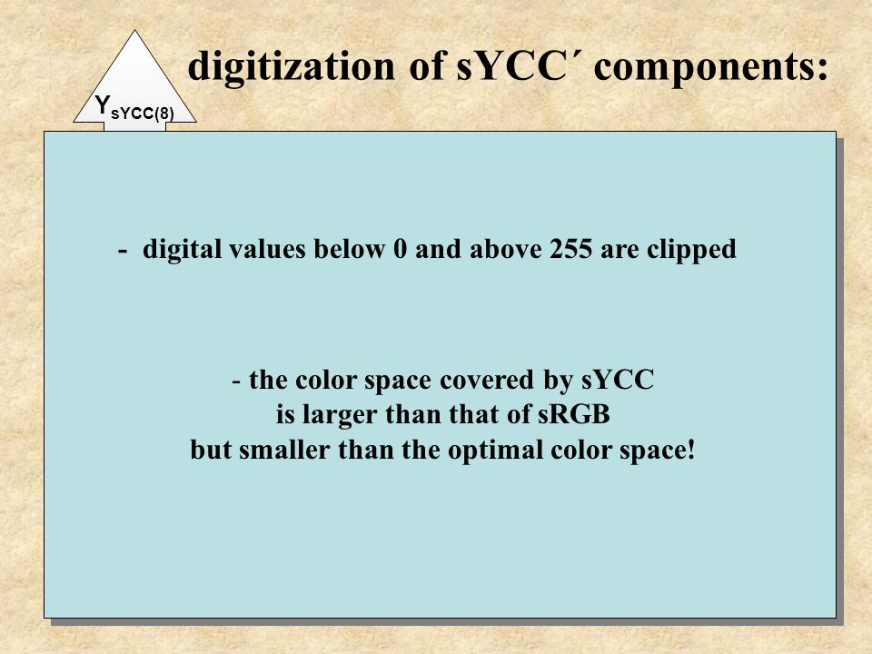 digitization of sYCC´ components: