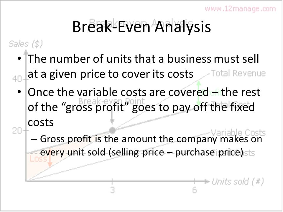 an analysis of costs profits and break of a company Break even point is the business volume that balances total costs with total gains at break even  loss to profits,  costs in break-even analysis,.
