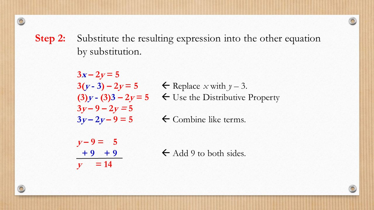 Step 2: Substitute the resulting expression into the other equation by substitution.