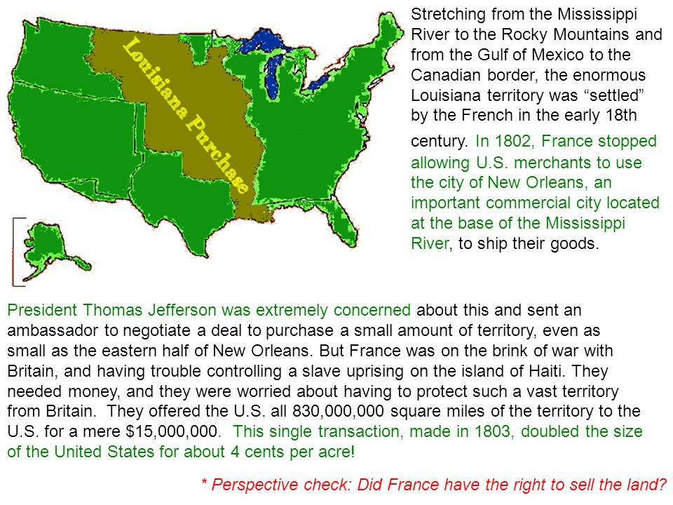 what made the americans to expand westwards from 1803 The risk of another power taking it from a weakened spain made a  american memory:the louisiana purchase legislative timeline--1803-1804  nor the 1803.