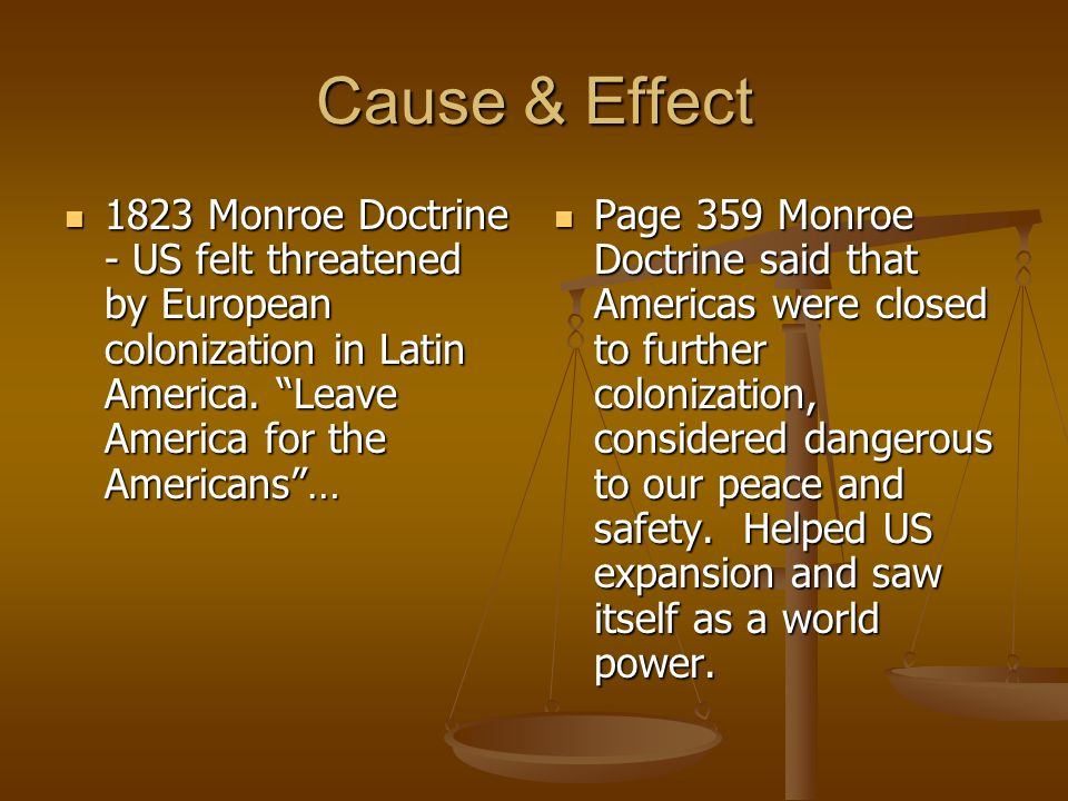 effects of the monroe doctrine essay The monroe doctrine was a further indication of the united states' intention to remain isolationist and uninvolved in the affairs of europe it came about when there was fear that french troops.