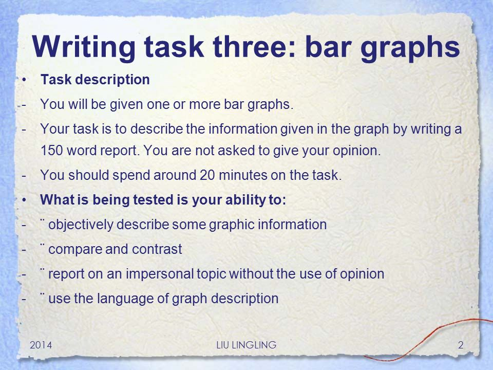 write an essay describe the graph Useful tips and vocabulary to describe a graph or chart in ielts writing task 1 1 how to write the introduction one sentence is enough for the introduction.