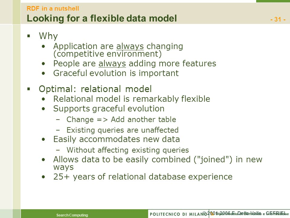RDF in a nutshell Looking for a flexible data model