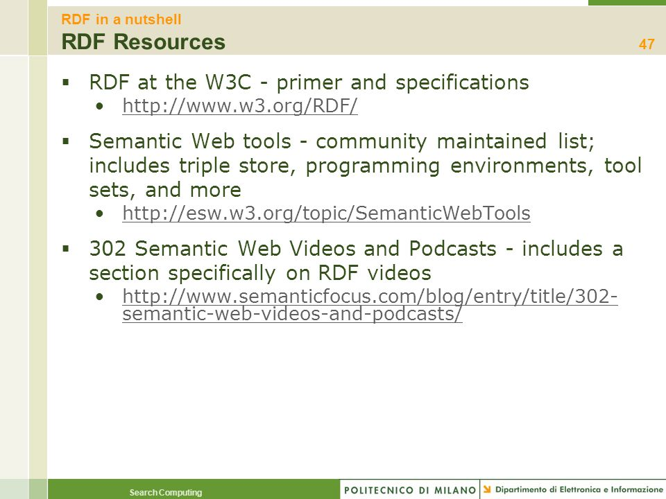 RDF in a nutshell RDF Resources