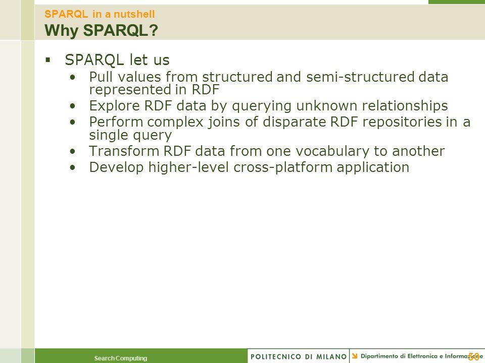 SPARQL in a nutshell Why SPARQL