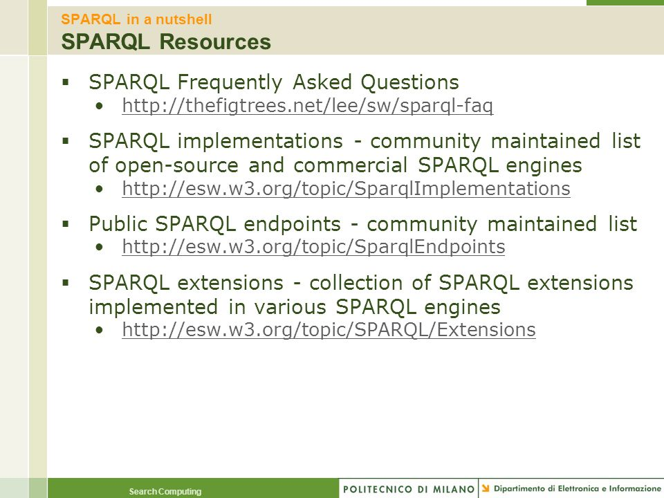 SPARQL in a nutshell SPARQL Resources