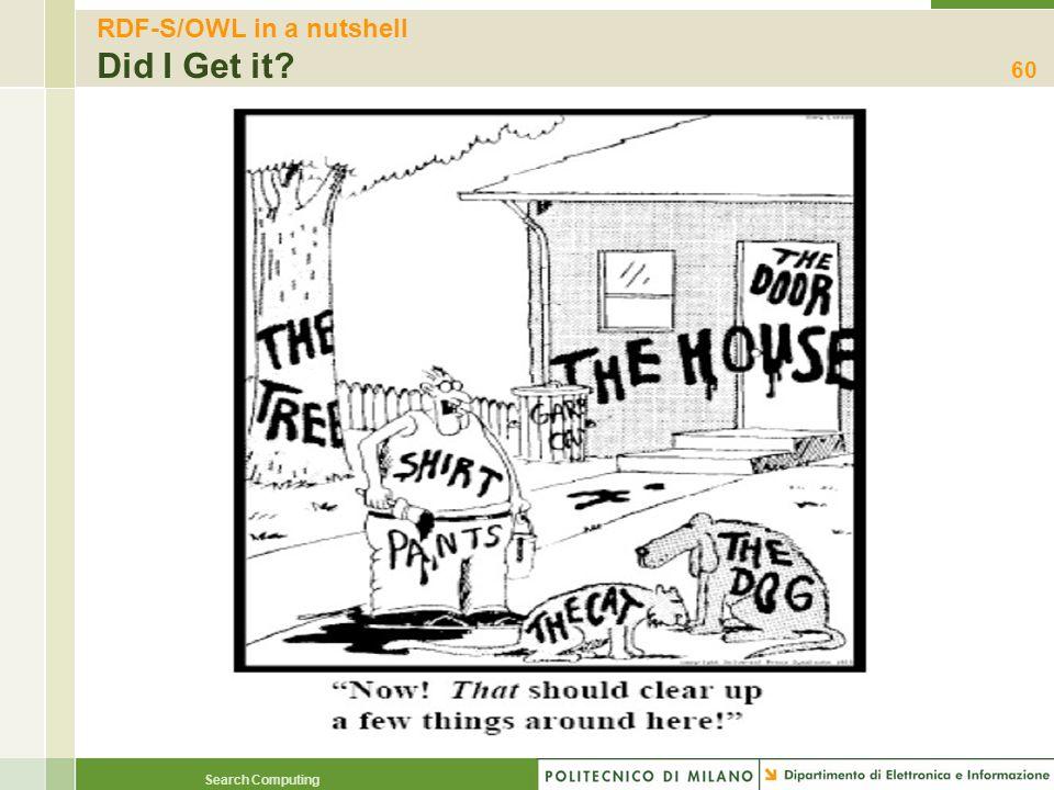 RDF-S/OWL in a nutshell Did I Get it