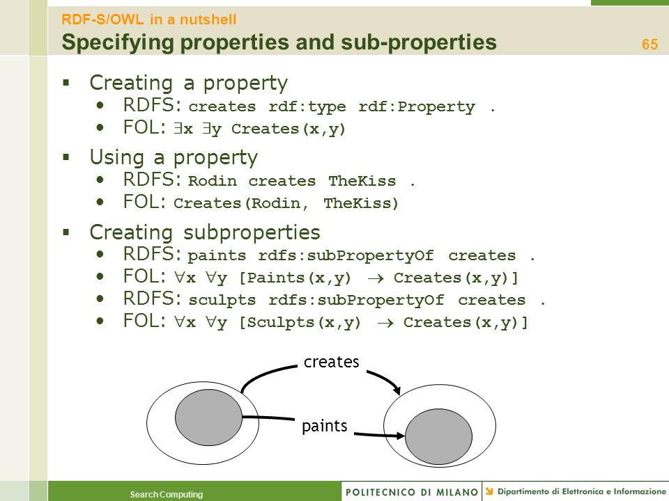 RDF-S/OWL in a nutshell Specifying properties and sub-properties
