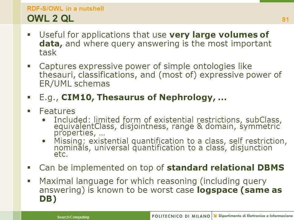 RDF-S/OWL in a nutshell OWL 2 QL