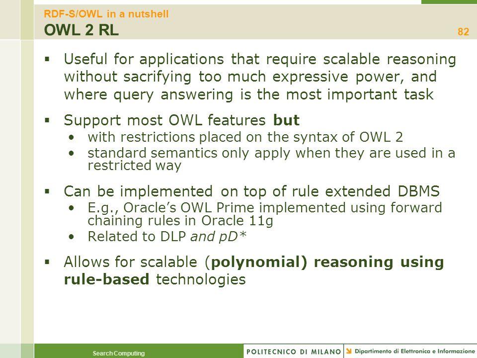 RDF-S/OWL in a nutshell OWL 2 RL