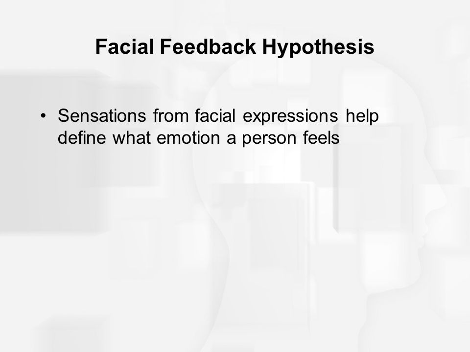 facial feedback hypothesis The role of positive facial feedback in the the role of positive facial feedback in the stress response controversial is the facial feedback hypothesis.