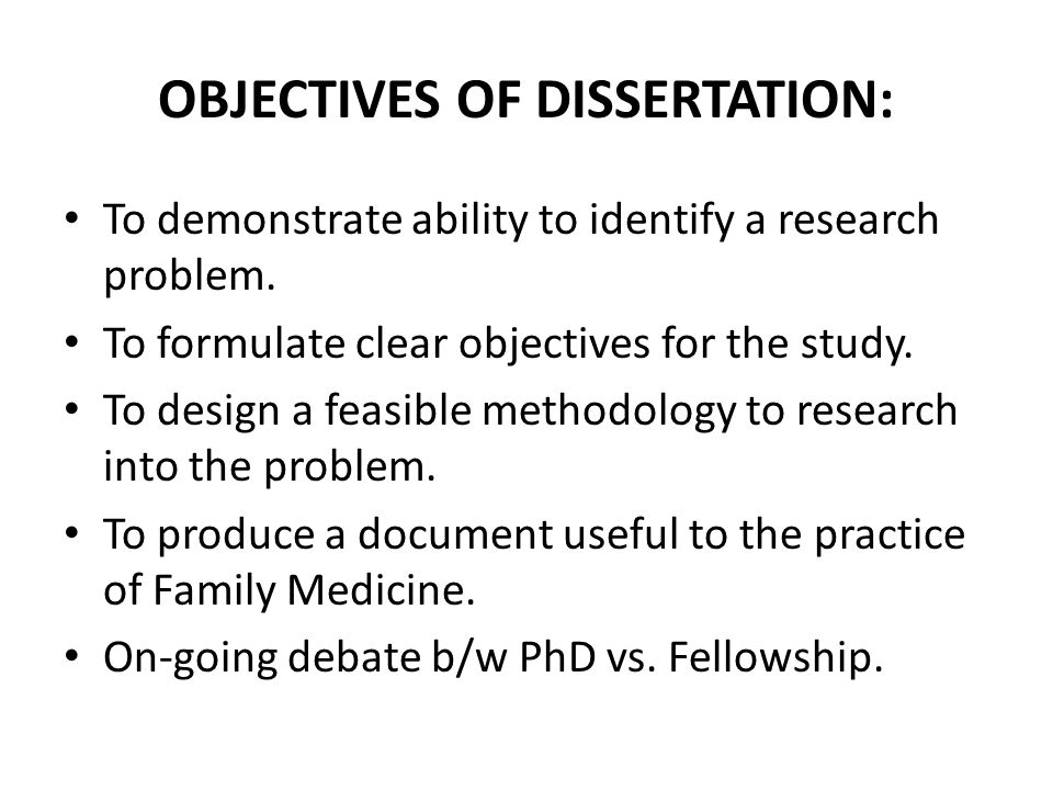 Aim of the study dissertation