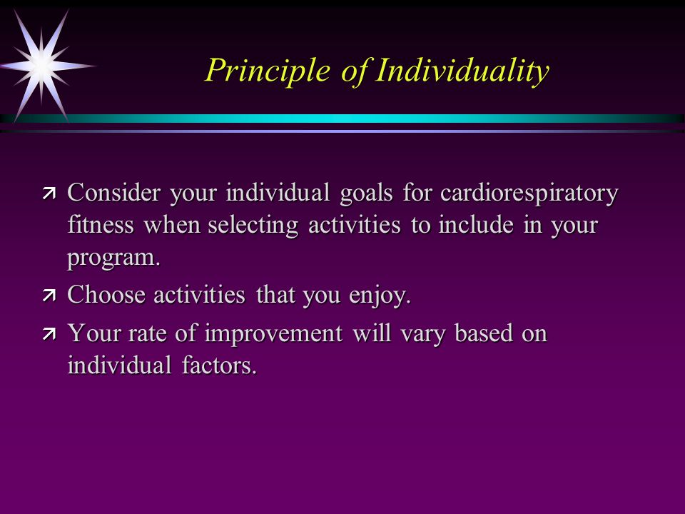 an essay on the principles for cardiorespiratory endurance programming C start the client on a moderate intensity aerobic exercise program 3-4 times/ week d begin the client on a  strength, muscular endurance, flexibility, body  composition)  i the physiological principles related to warm-up and cool-down.