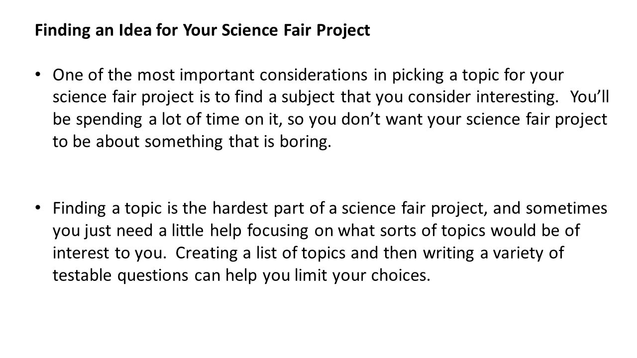 what makes a good science fair project ppt  3 finding