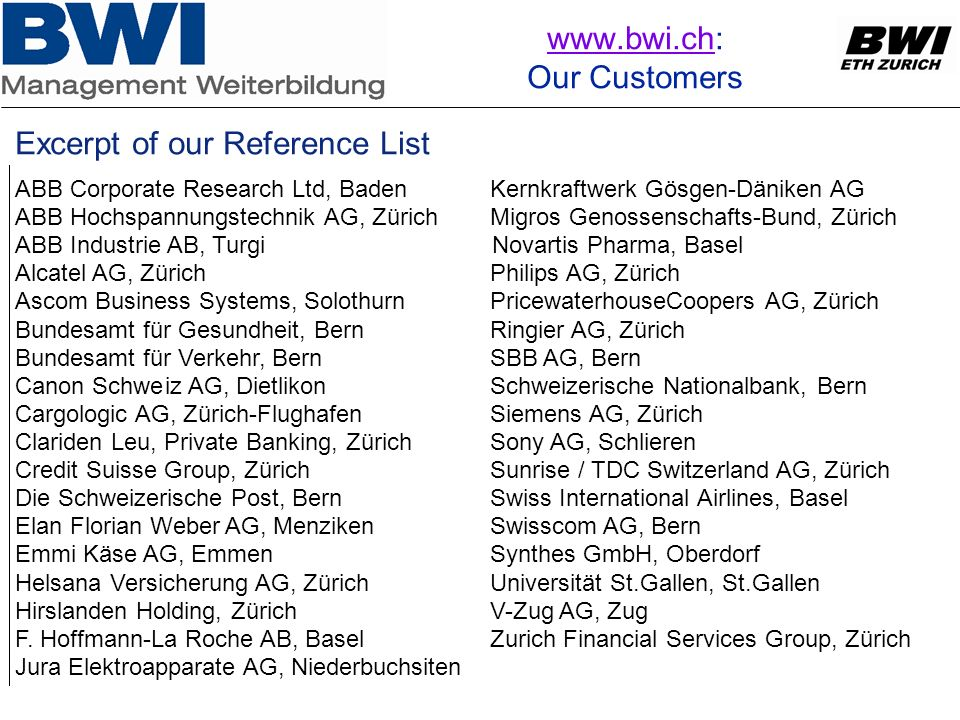 www.bwi.ch: Our Customers