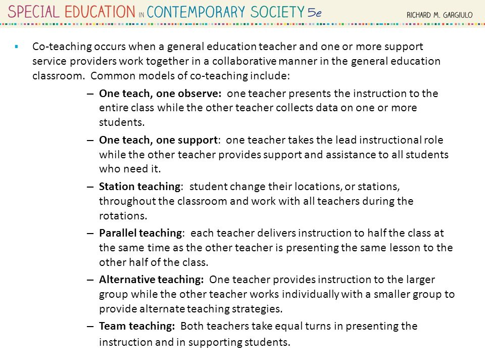 Collaborative Teaching Models Special Education ~ Special education in context people concepts and