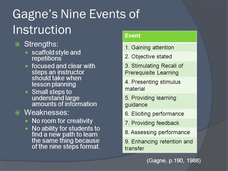 Expanding On The Nine Events Of Instruction