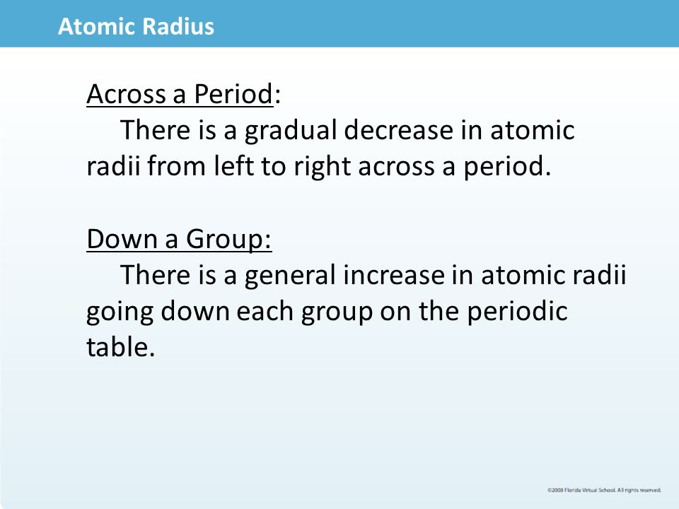 9 atomic - Down Each Group Of The Periodic Table Atomic Radius