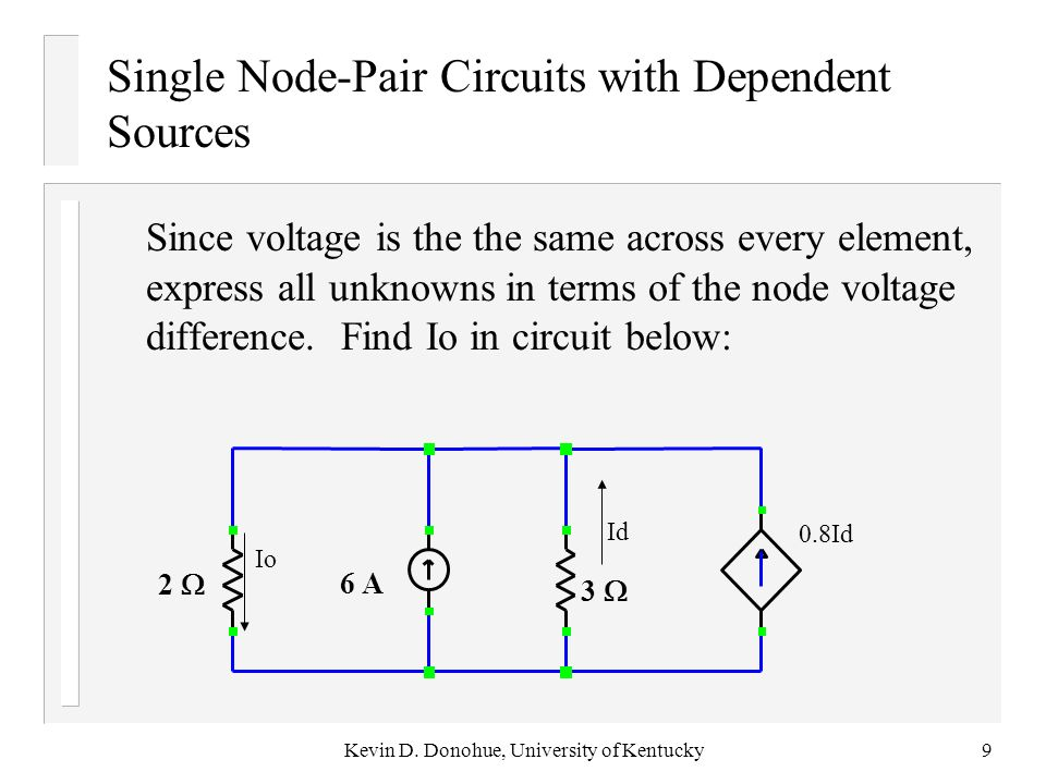 For the single node pair circuit below find