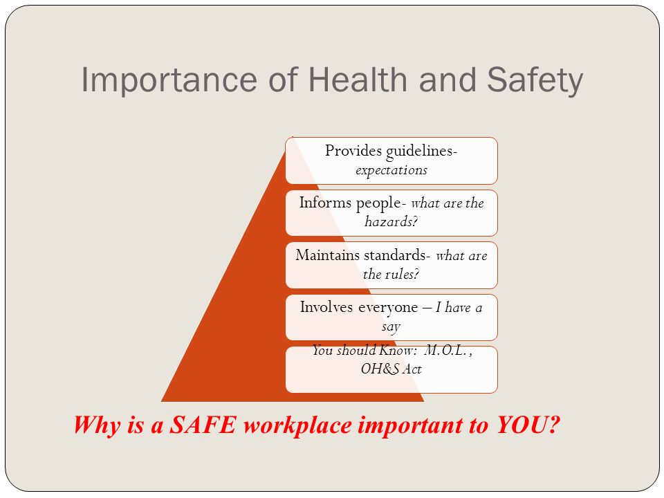 the importance of health and safety A risk assessment is not only an important step in ensuring a safe and healthy  work environment, it is a legal requirement it needs to be.