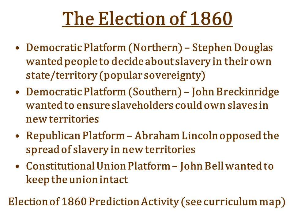 Election Of 1860 Prediction Activity See Curriculum Map