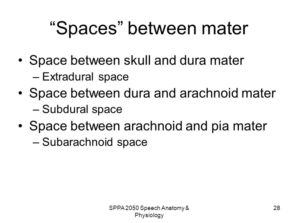 Spaces between mater