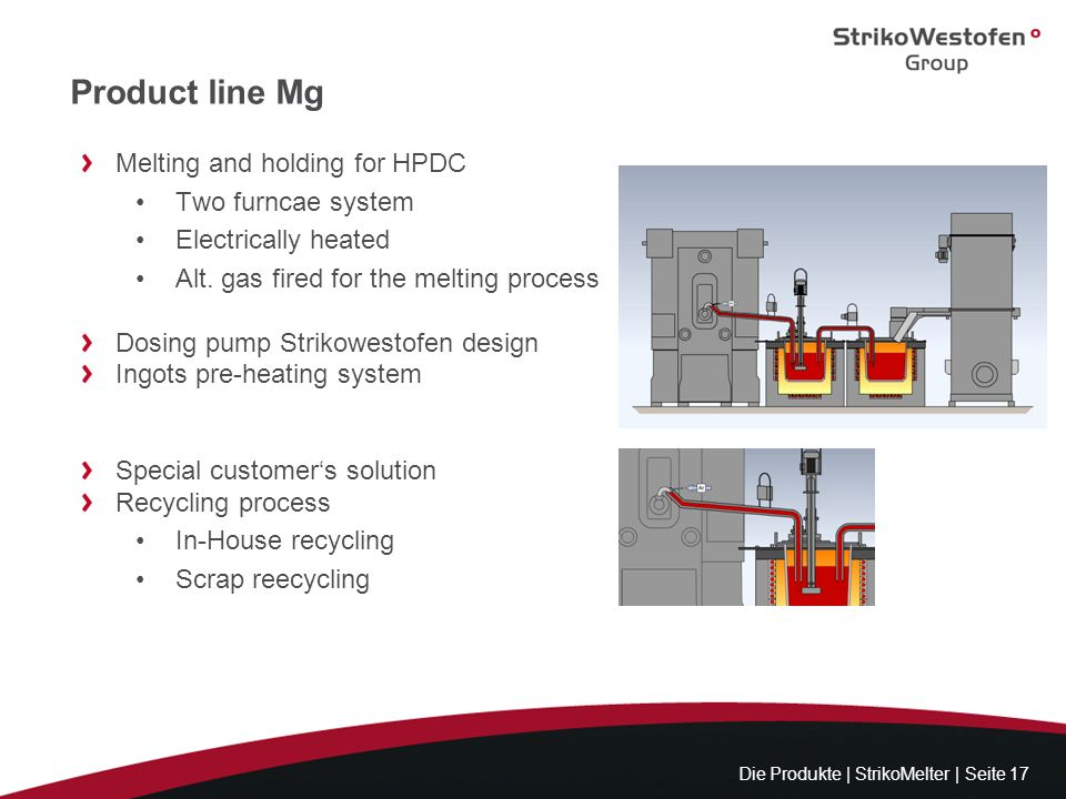 Product line Mg Melting and holding for HPDC Two furncae system