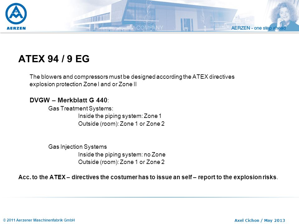 ATEX 94 / 9 EG The blowers and compressors must be designed according the ATEX directives. explosion protection Zone I and or Zone II.