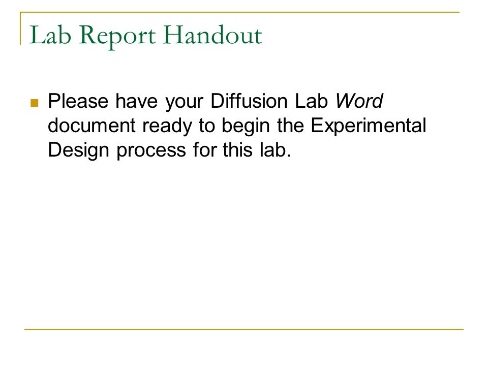 an experiment report on molecular diffusion View lab report - liquid diffusion (2) from ech 4323l at university of florida   diffusion occurs in gases, liquids, and solids both diffusion of molecules of.