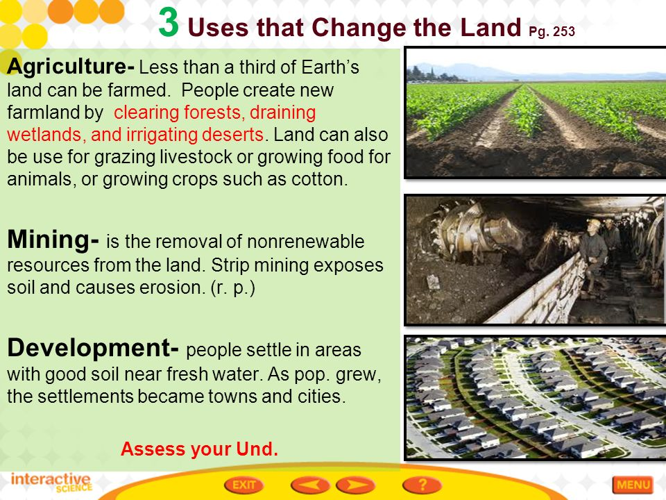 Ch 8 1 conserving land and soil ppt video online download for Three uses of soil