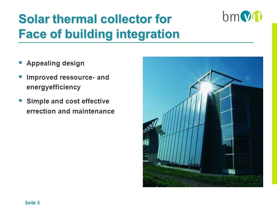 Solar thermal collector for Face of building integration