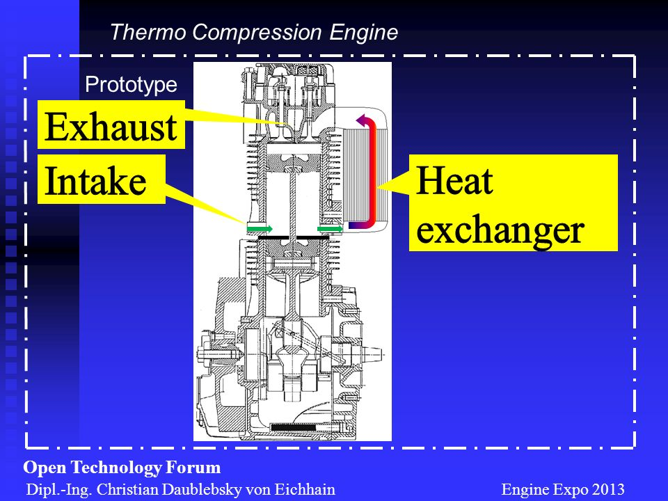 Exhaust Intake Heat exchanger Thermo Compression Engine Prototype