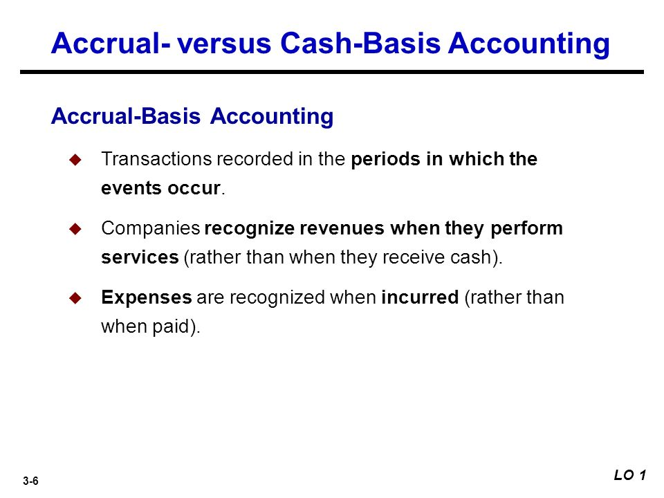 accounting versus cash based accounting essay Accounting methods: companies choose between two methods—cash accounting or accrual accounting under cash basis accounting, preferred by small businesses, all revenues and expenditures at the time when payments are actually received or sent are recorded under accrual basis accounting, income is recorded.