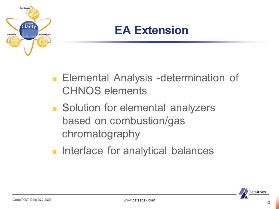 EA Extension Elemental Analysis -determination of CHNOS elements