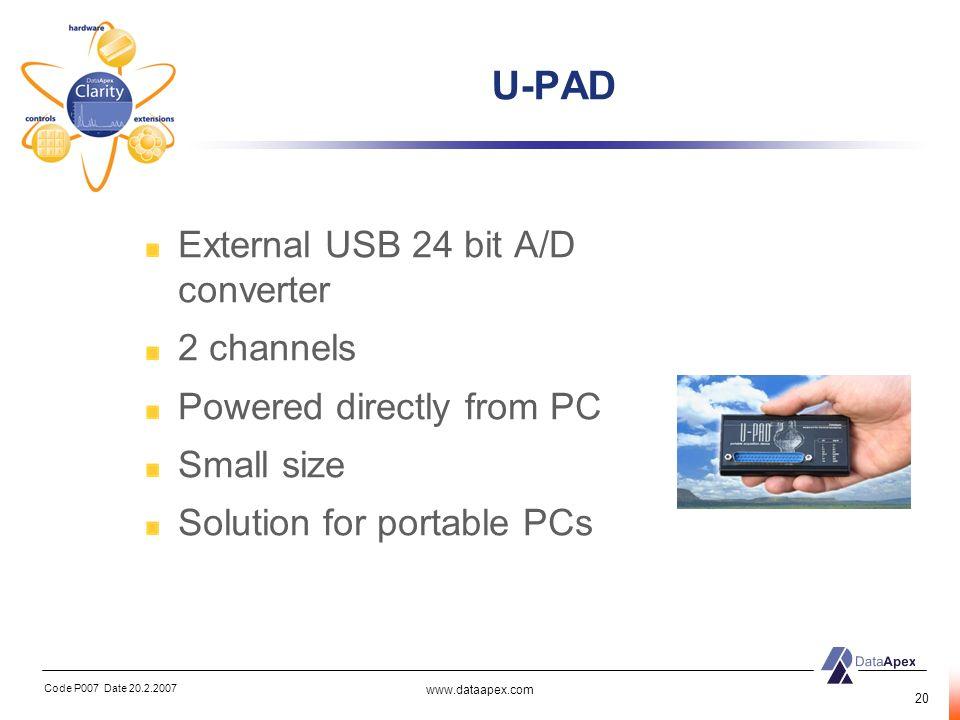 U-PAD External USB 24 bit A/D converter 2 channels