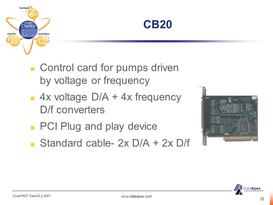CB20 Control card for pumps driven by voltage or frequency