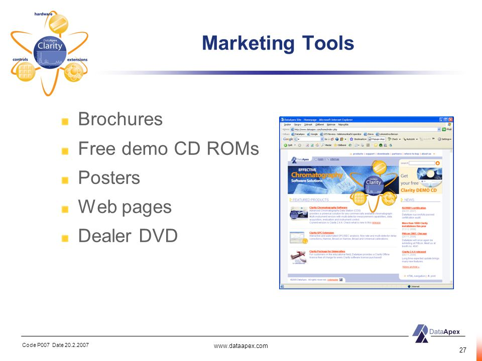 Marketing Tools Brochures Free demo CD ROMs Posters Web pages