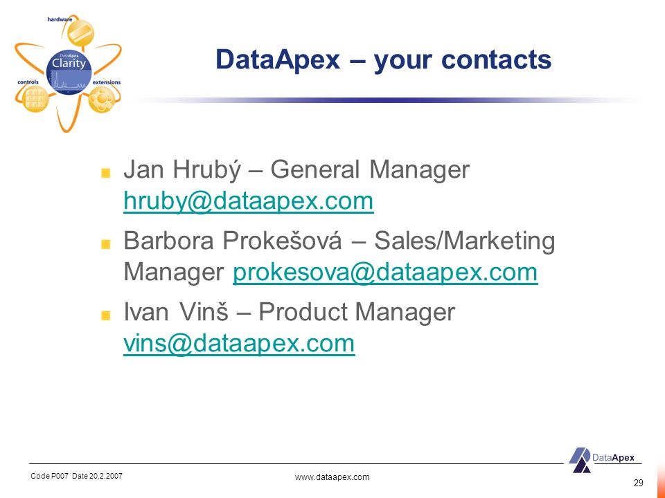 DataApex – your contacts