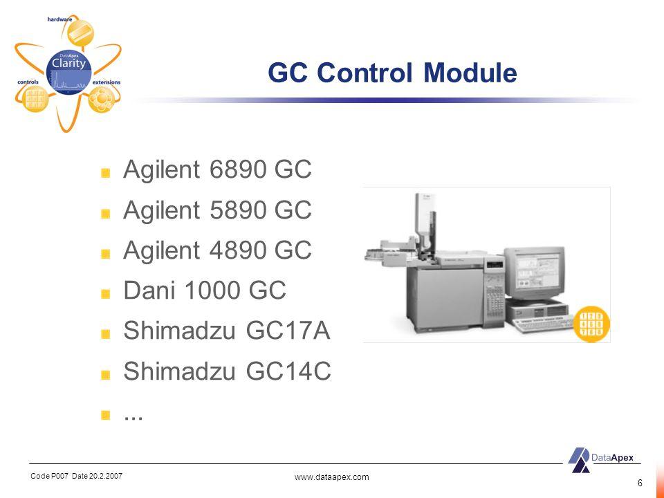 GC Control Module Agilent 6890 GC Agilent 5890 GC Agilent 4890 GC
