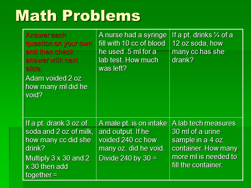 nursing math problems
