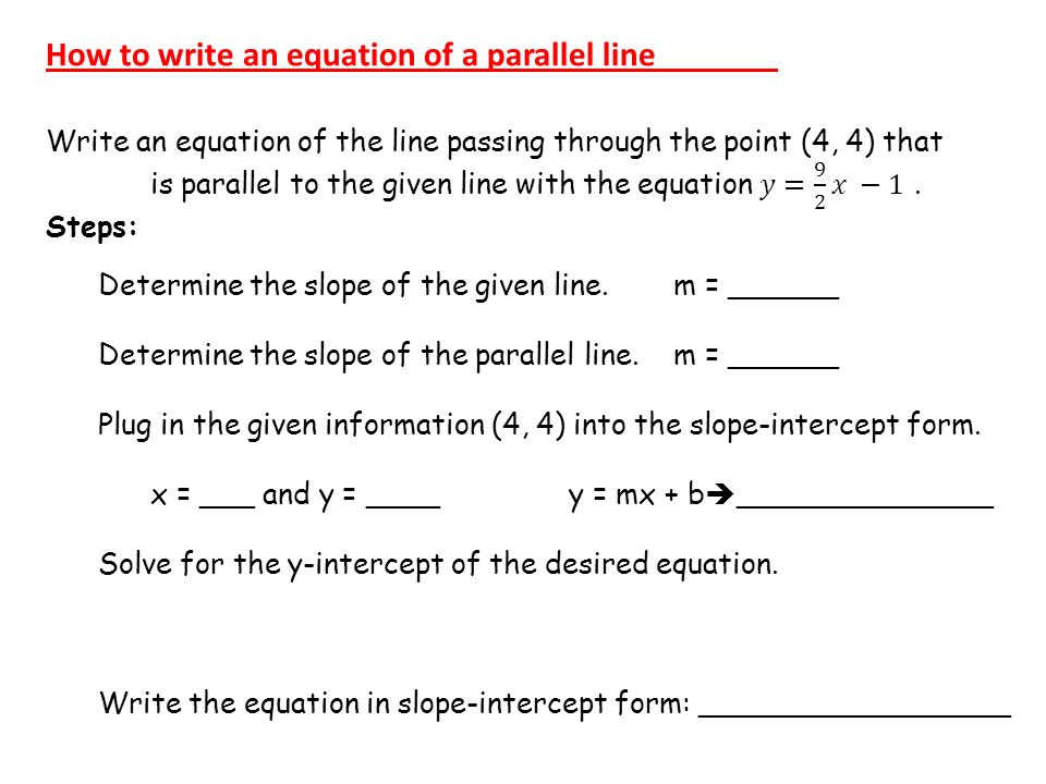how to find the equation of a parallel line