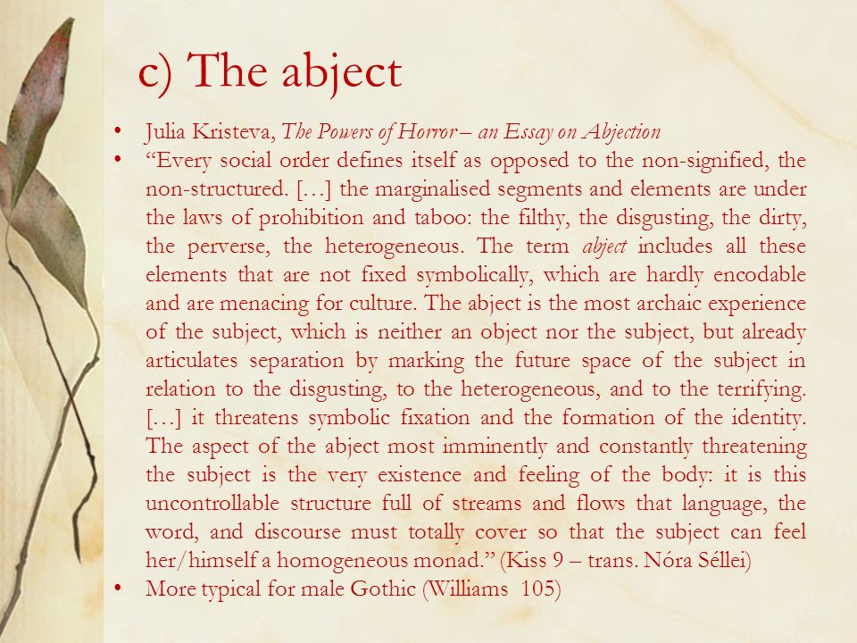 Kristeva j. powers of horror an essay on abjection