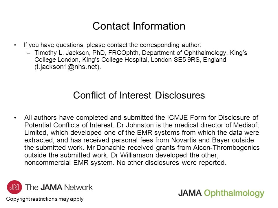 Jama ophthalmology journal club slides complications of conflict of interest disclosures pronofoot35fo Image collections
