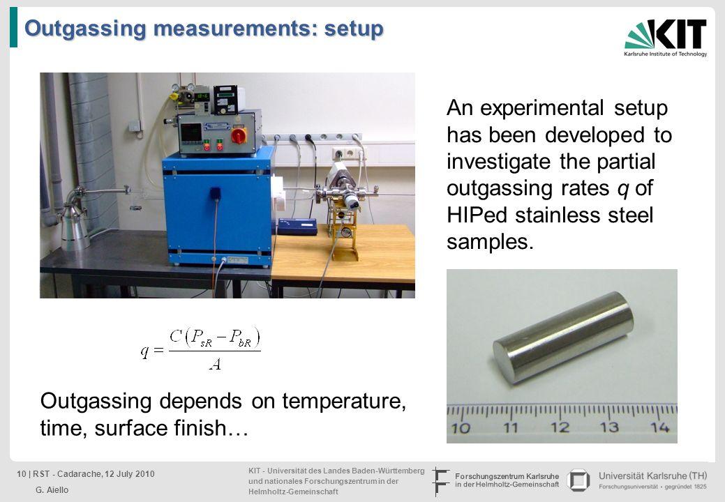 Outgassing measurements: setup