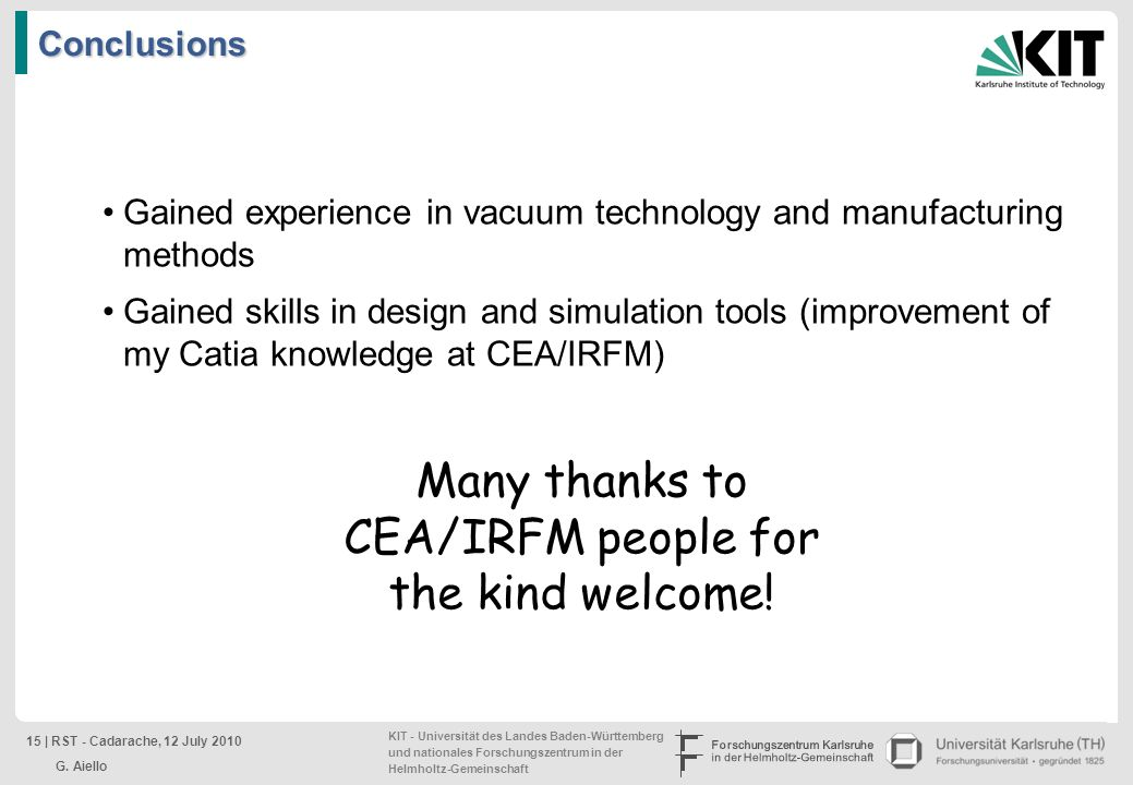 Many thanks to CEA/IRFM people for the kind welcome!